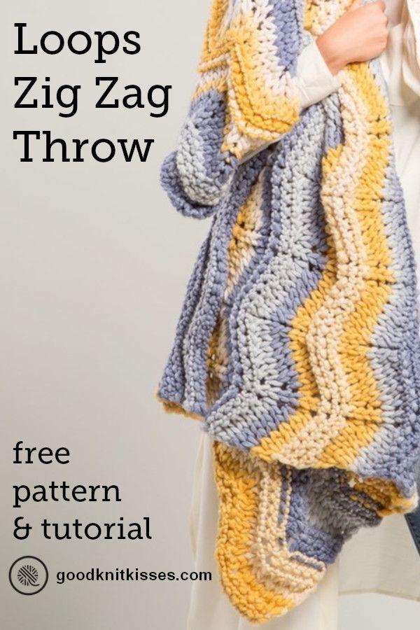 Finger Knit Chevron Blanket Loops