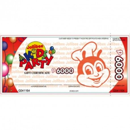 Jollibee Kids Party Gift Certificate (6000 Peso Gift Certificate