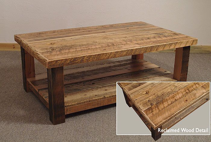 reclaimed barn wood rustic big timber coffee table