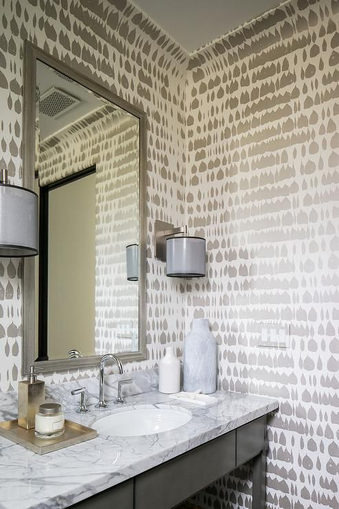 Silver and white wallpaper in modern bathroom