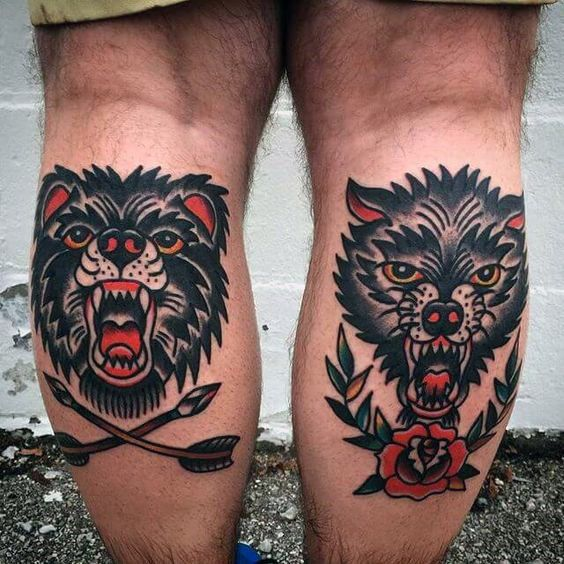 11ff19b54 Download Free Guys Back Of Leg Calf Traditional Tattoo Of Bear And Wolf to  use and take to your artist.