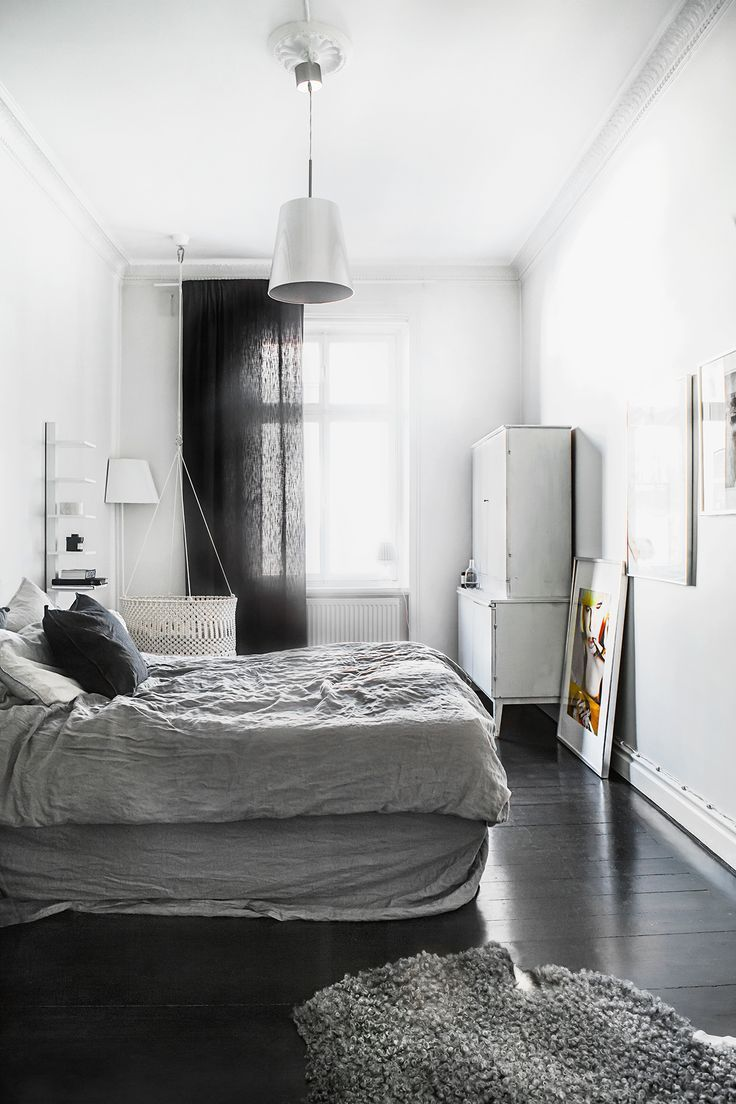 Grey Linen Bedding White Walls And Black Floorboards Luxury Bedroom Decor Bedroom Interior Black Wooden Floor