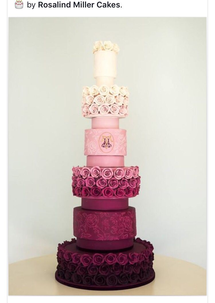 6 tier wedding cake in magenta ombre to white with ...