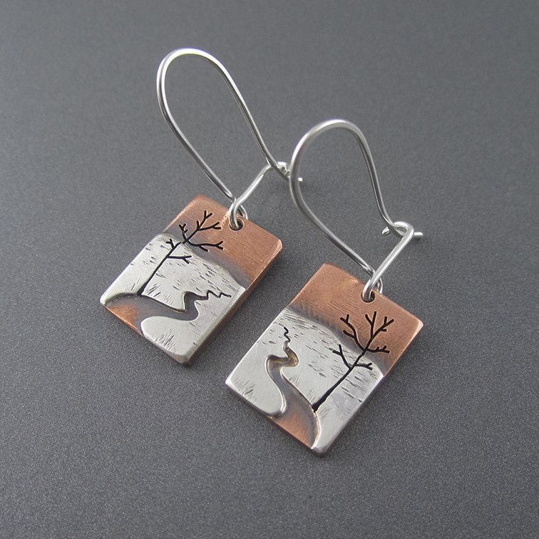 Mini Chocolay River Earrings is part of Metal earrings, Mixed metal jewelry, Fine silver jewelry, Mixed metal earrings, Ceramic jewelry, Metal clay jewelry - 8  (1 6cm) long not including latching sterling silver ear wires  Handcrafted in Michigan  In Stock