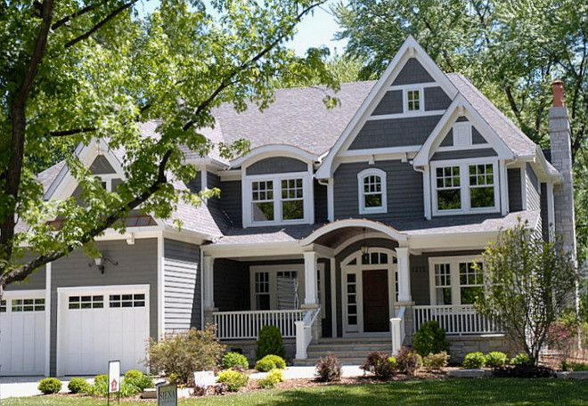 Modern exterior design ideas benjamin moore siena and gray - Dark grey exterior house paint concept ...