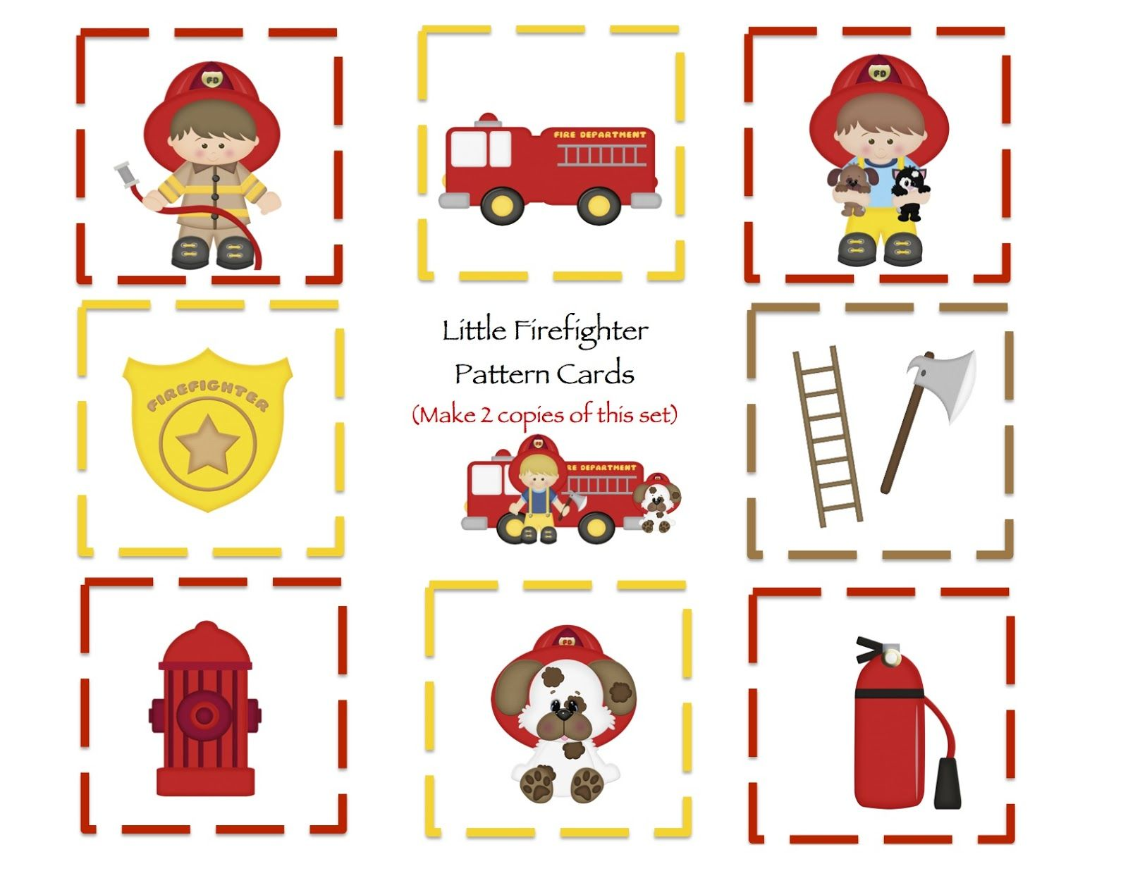 Community Helpers Fireman Theme Print 2 Colored Copies For Matching Game