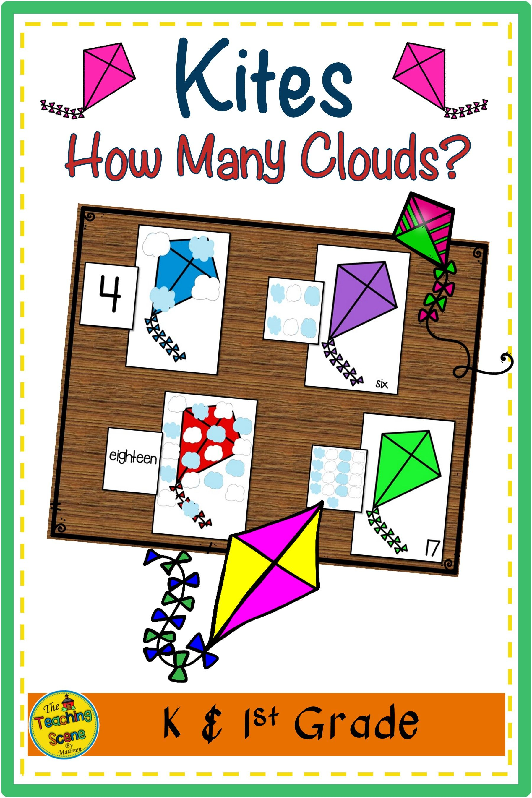 Kites Counting Games How Many Clouds In