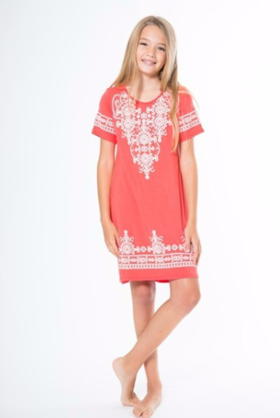 Made in USA Details  Description: Kids' Embroidery-Looking Pop-Up Print Dress…