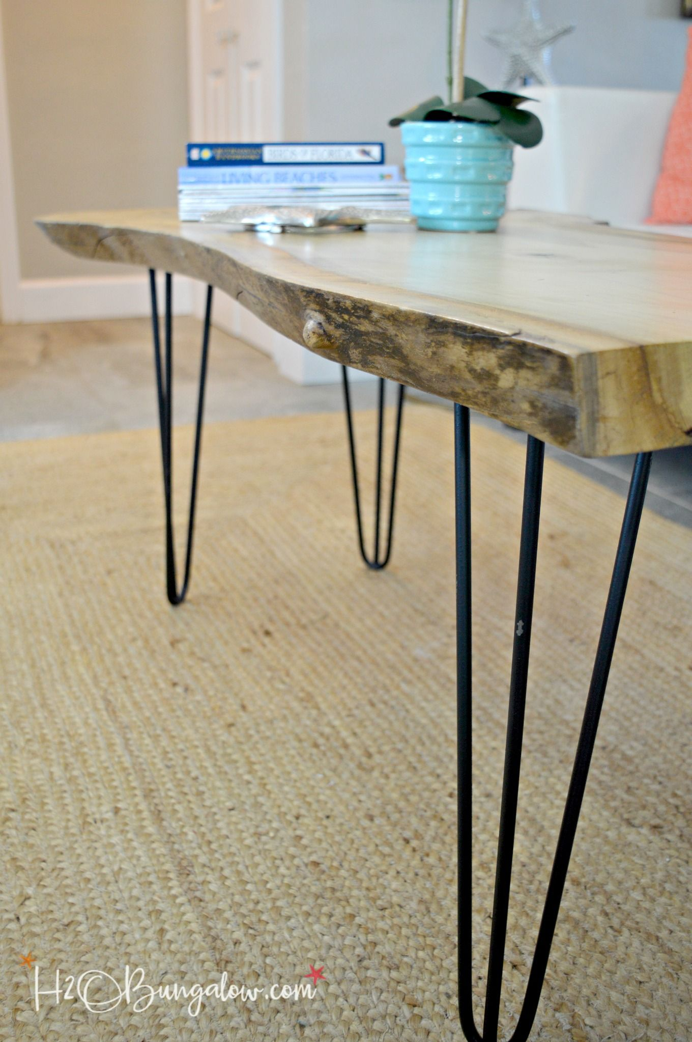 Hairpin Leg Diy Live Edge Wood Coffee Table Coffee Table Wood Live Edge Wood Mid Century Coffee Table [ 2046 x 1360 Pixel ]