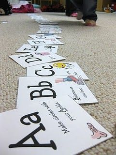 ABC Exercise Activity cards.  Great to use with the kids on a snowy day inside.  Website lists some fun ways to use the cards.