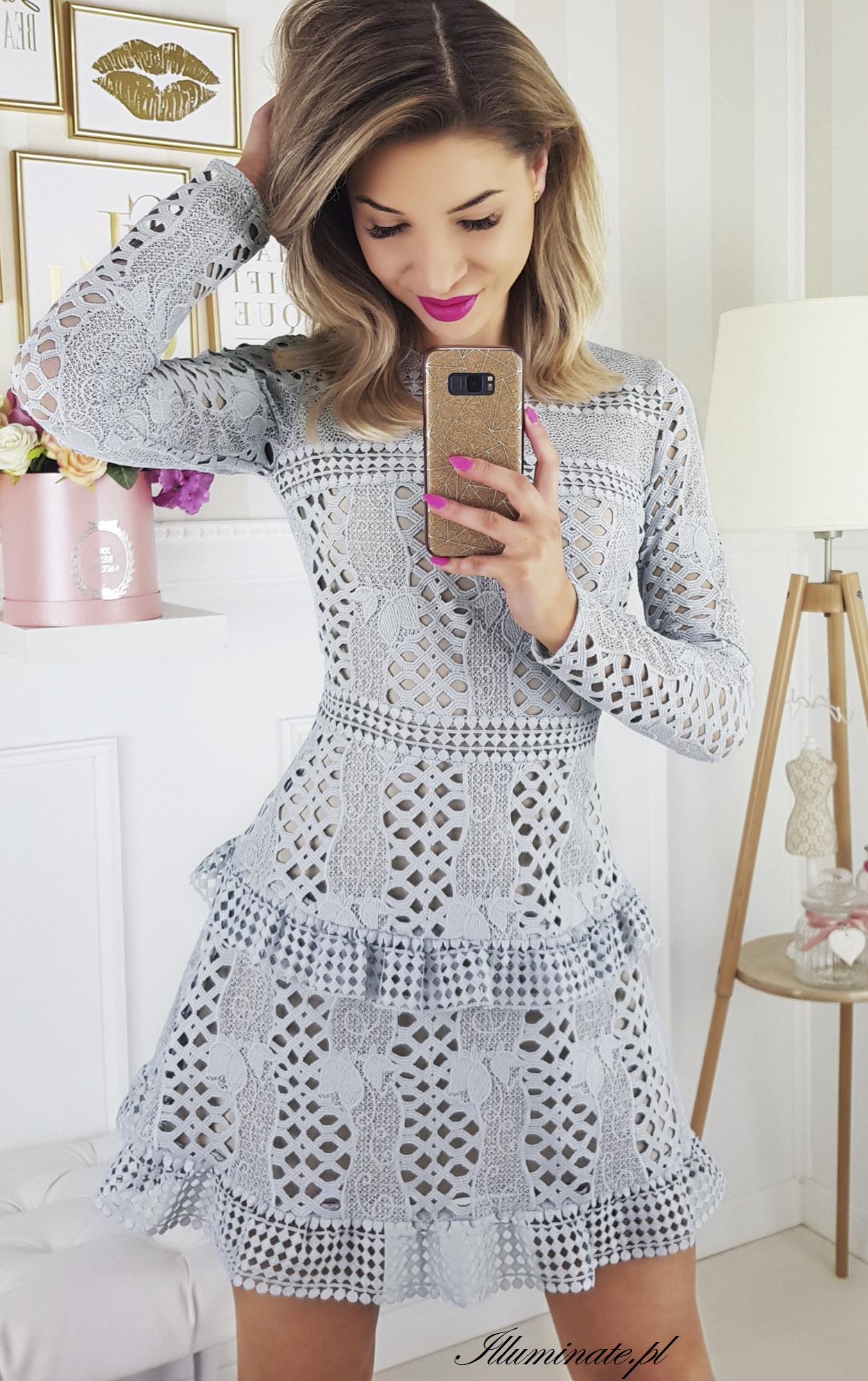 b709c1472fb0ac Szara koronkowa elegancka sukienka idealna na poprawiny Sukienka szyta w  Polsce! 309 zł -> illuminate.pl #sale #wyprzedaz #swiadkowa #slub  #skleponline ...