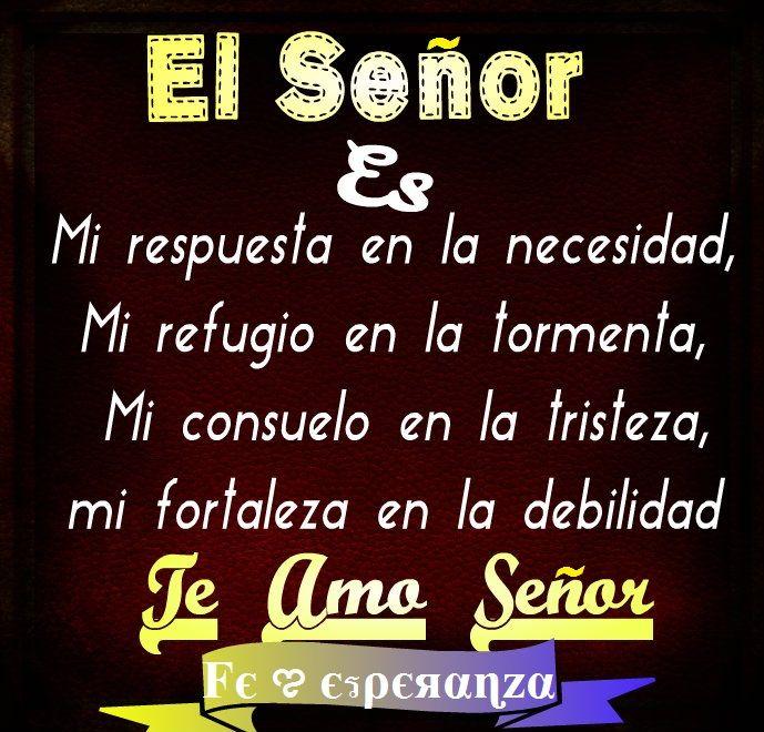 El SEÑOR es mi respuesta en la necesidad, mi refugio en la tormenta, mi consuelo en la tristeza, mi fortaleza en la debilidad.   Te Amo Padre Amado