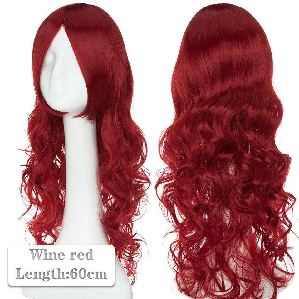Photo of 60~80cm Cosplay Wig Long Wig Middle Part Hair Wig Cosplay Natural Wavy Heat Resistant Synthetic Wigs – wine red 2 / 60-80CM / United States
