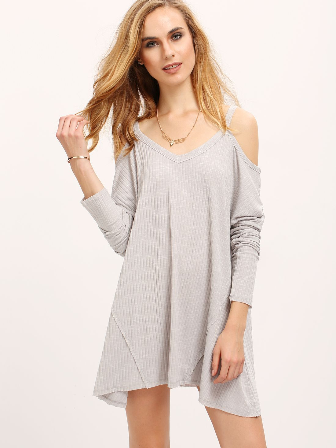 Buy It Now Grey Off The Shoulder Loose Rib Dress Grey Casual