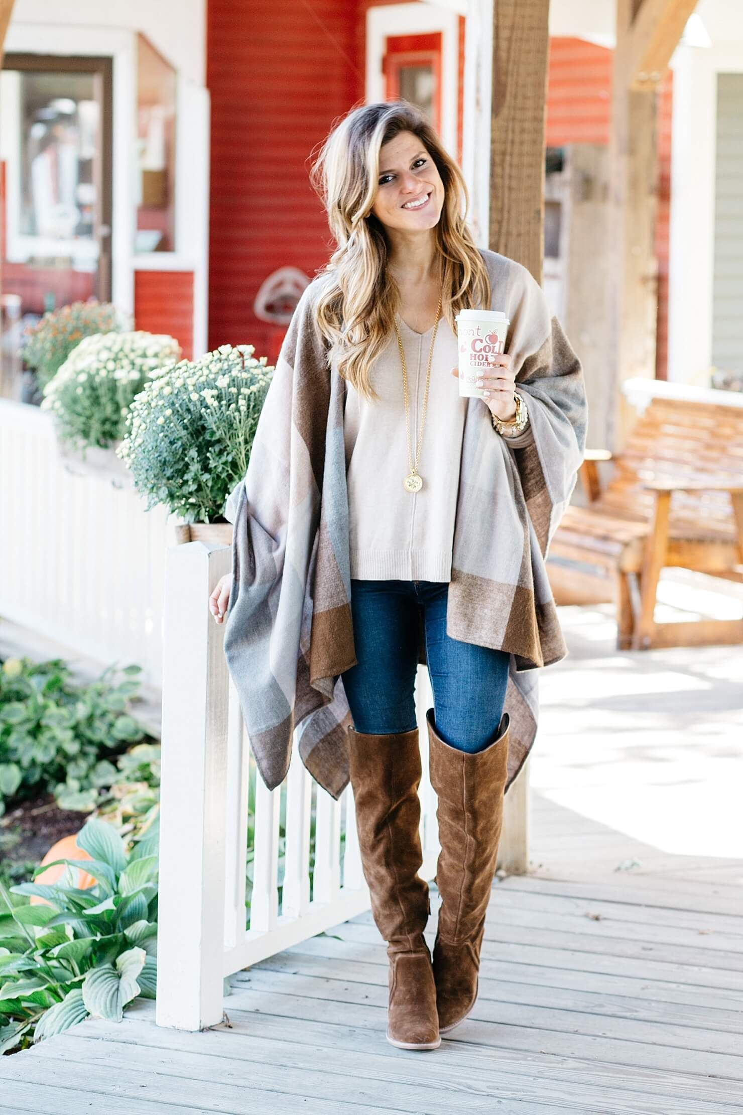 ac2952dffa0 How To Wear a Poncho Shawl - Pair It With Neutrals & Suede OTK Boots ...