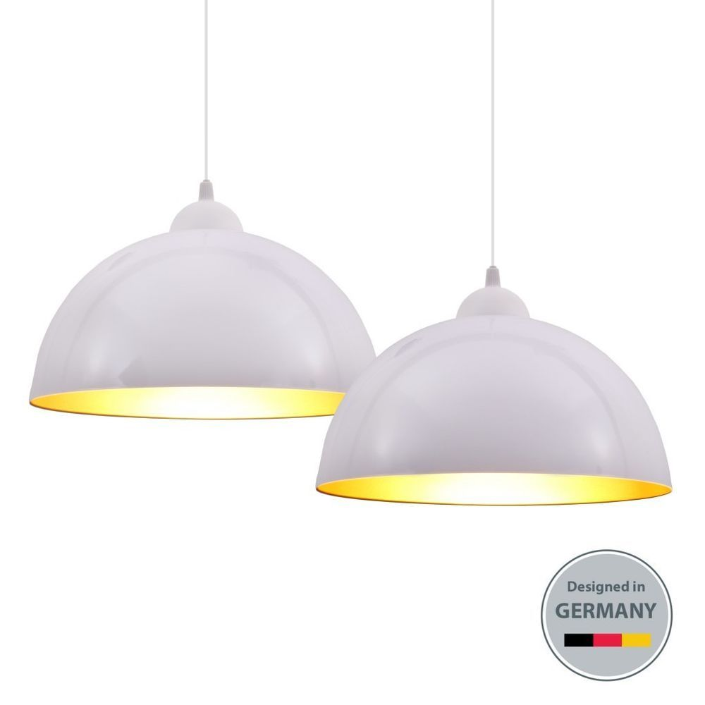 Schlafzimmer Hänge Lampe: 2x Design Pendel-Leuchte Hängelampe Weiß Wohnzimmer