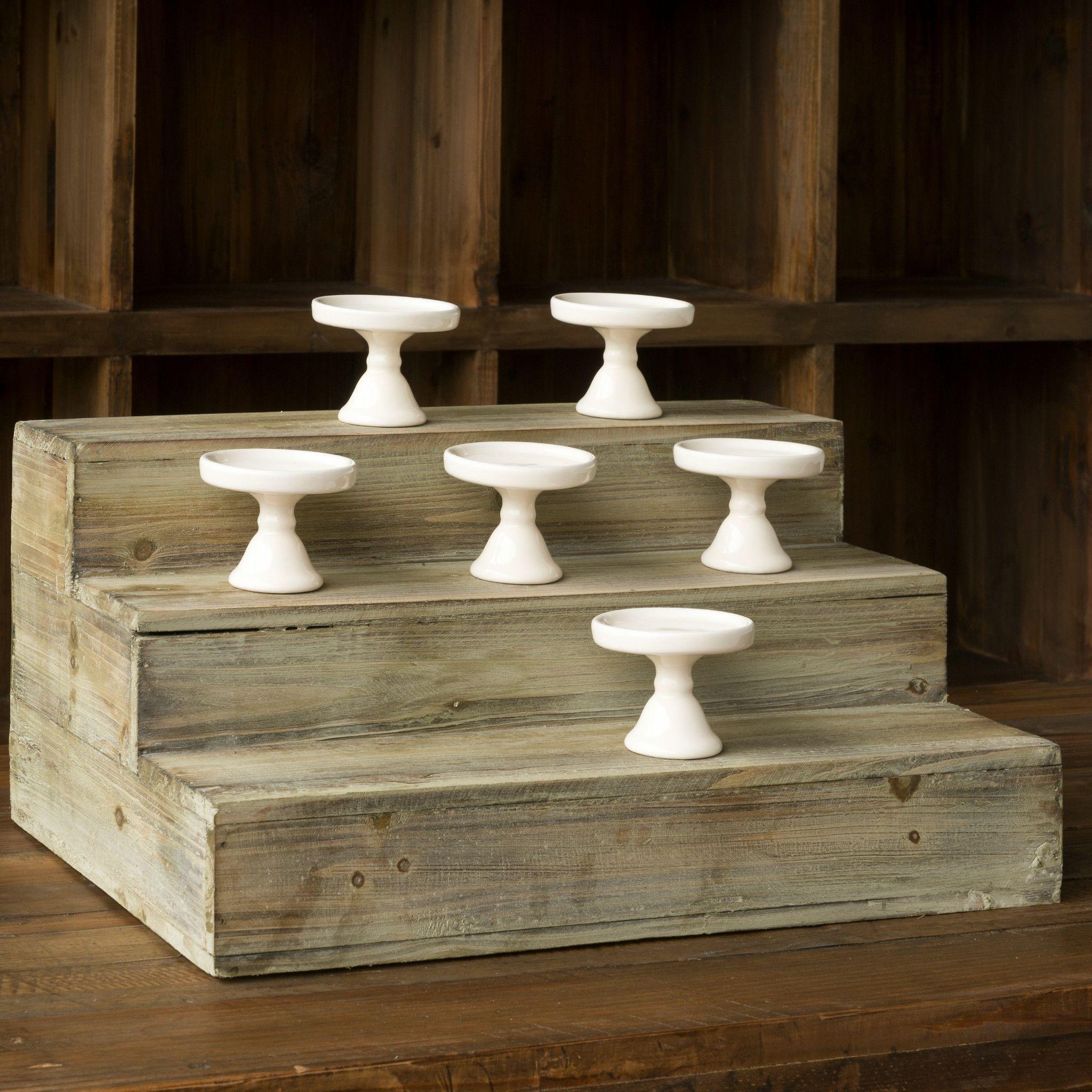 Stair Step Display Platform Wooden Cupcake Stands Jar Display
