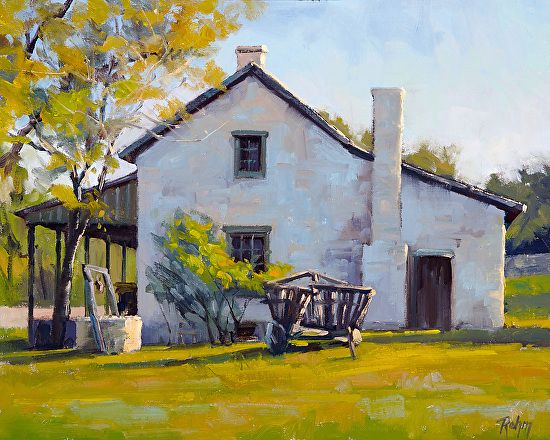 Afternoon Texas Farm House by Robert Rohm Oil ~ 16 x 20