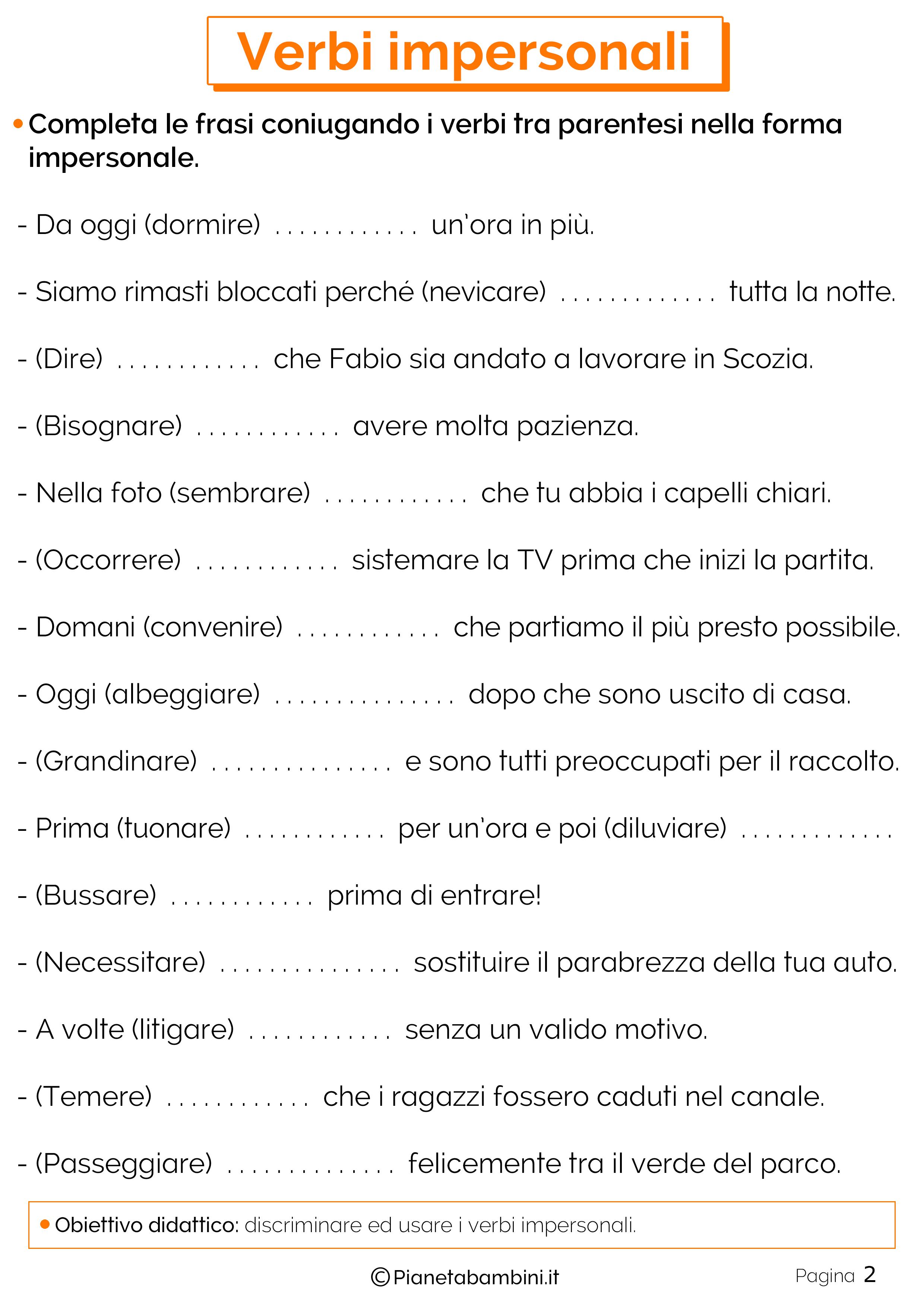 Verbi Impersonali Esercizi Per La Scuola Primaria Grammatica
