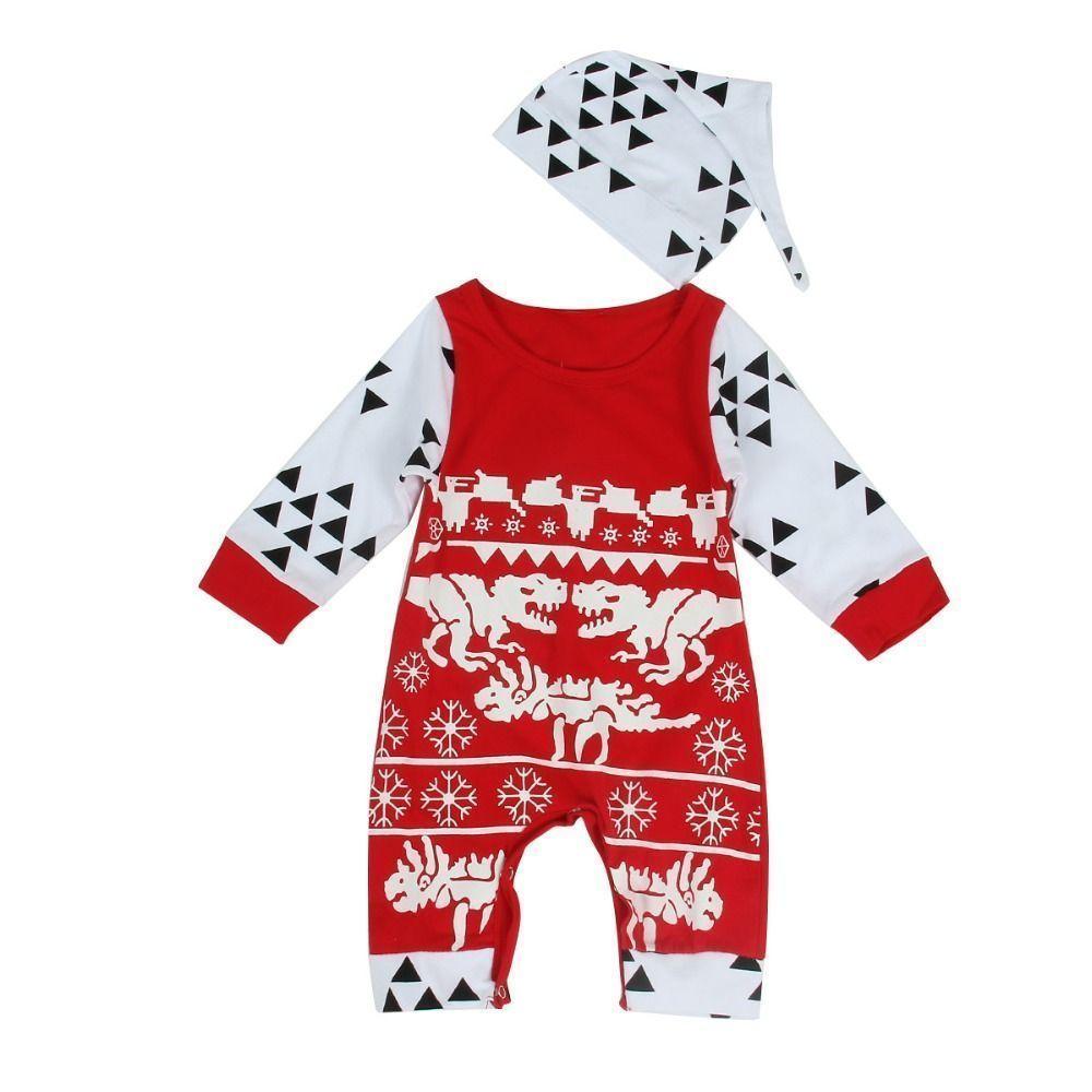 Puseky Newborn Infant Baby Boy Print Romper JumpsuitHat Christmas