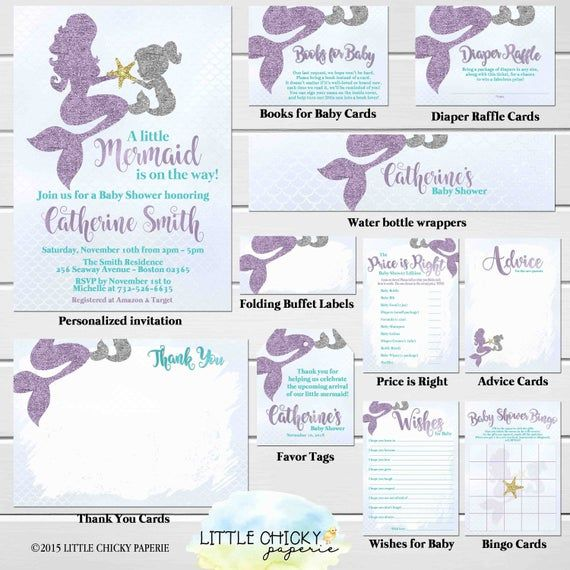Mermaid Baby Shower Invitation Party Package, Purple and Teal, Under the Sea Baby shower, Thank you, Diaper Raffle, Game Cards, Favor Tags
