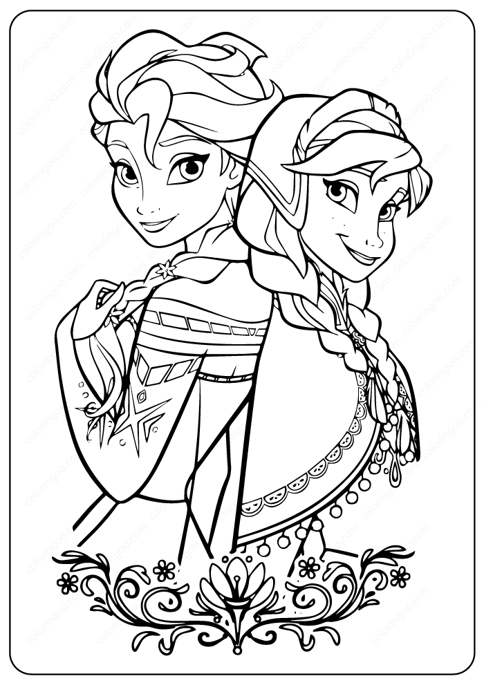 Pritable Frozen 2 Anna Elsa Coloring Page In 2020 Disney Princess Coloring Pages Elsa Coloring Pages Frozen Coloring Pages