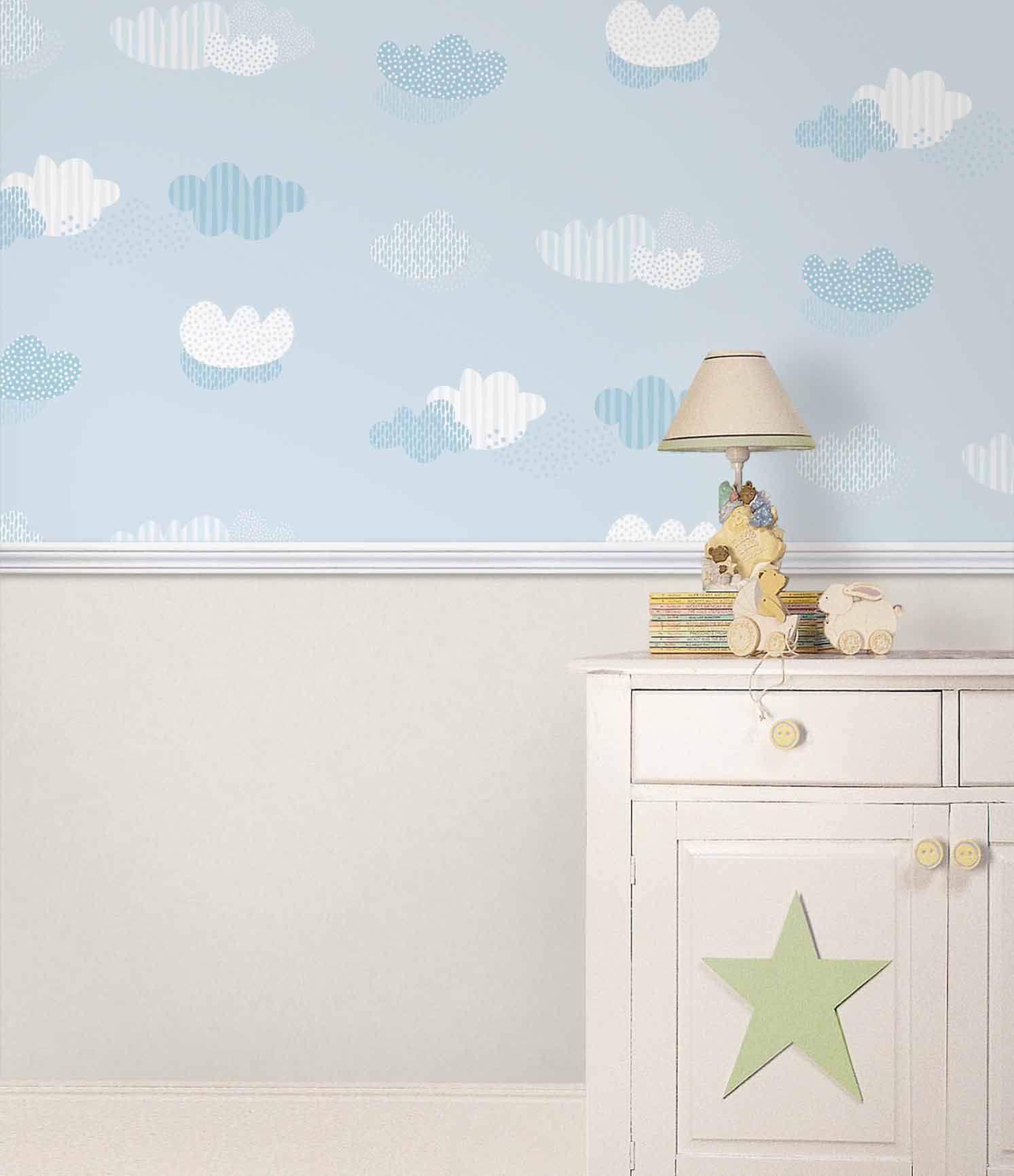Empapelado nubes papel de parede empapelado - Papel de rayas para habitacion infantil ...