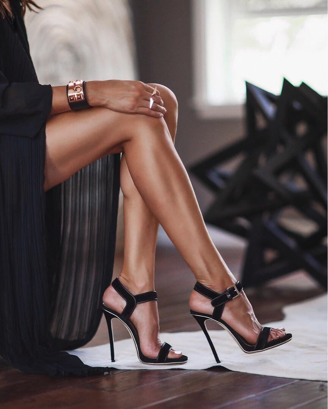 Her Sexy Legs Feet Strappy Heels
