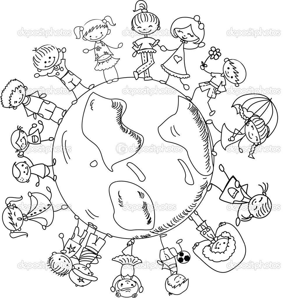 Anasınıfı Dünya üzerinde Duran çocuklar Boyama 1 23 Nisan