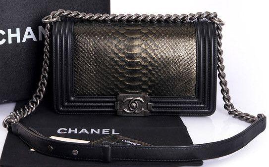 f1477e511647 CN0070 Boy Chanel Flap Shoulder Bag Genuine Python Leather A37003 Bronze