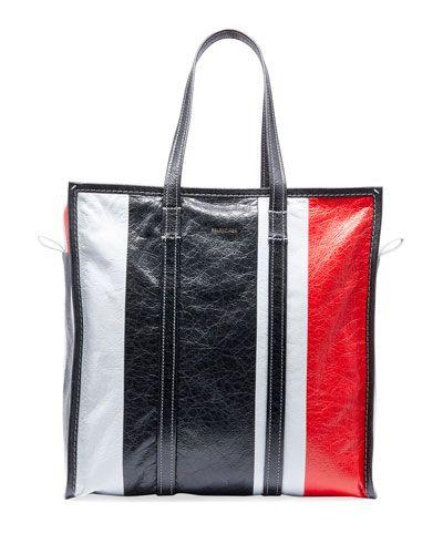 Balenciaga Men s Bazar Medium Striped Leather Shopper Tote Bag 71038b7d41ea8