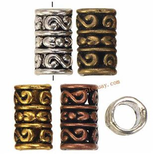 Zinc Alloy Tube Beads,Plated,Cadmium And Lead Free,Various Color For Choice,Approx 7.5*13.5mm,Hole:Approx 5.5mm,Sold By Bags,No 002028