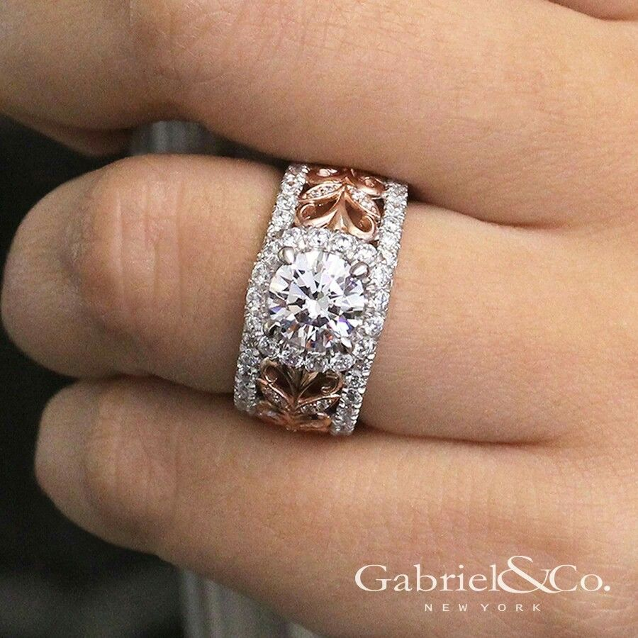 Wide Band With Two Tone Gold Gabriel Co Wide Band Wedding