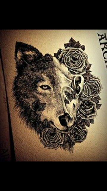 wolf #half-skull   tattoos   Wolf tattoos, Wolf skull, Cute
