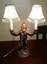 Vintage Bellhop Monkey Lamp With Beaded Double Shades | Lamp