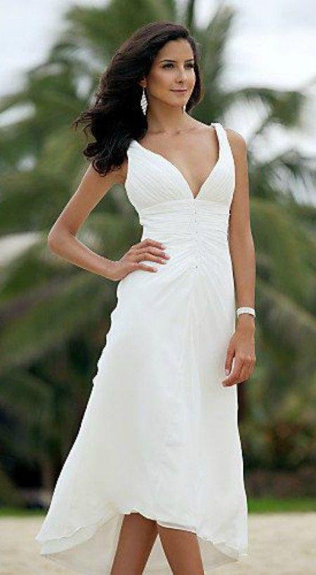 5b798f9d10c66 Sexy Deep V-neck High Low Wedding Dress for Summer | Sweet & Short ...