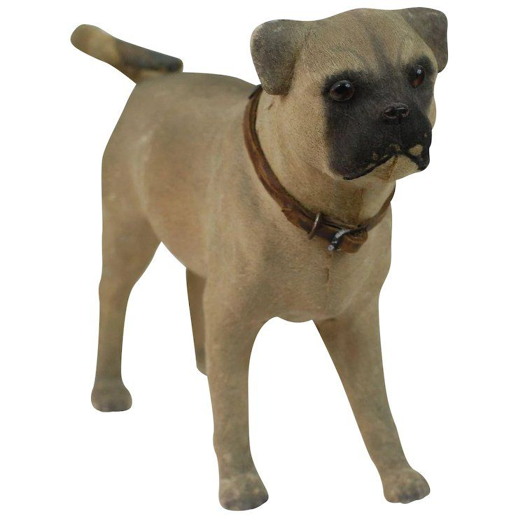 Large Early Paper Mache Pug Dog Candy Container Perfect Doll Mate