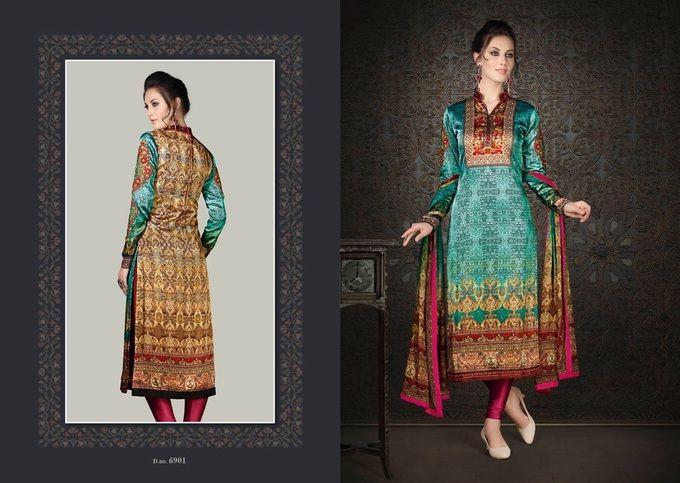 Amazing Green Brown Silk Satin Salwar Kameez335