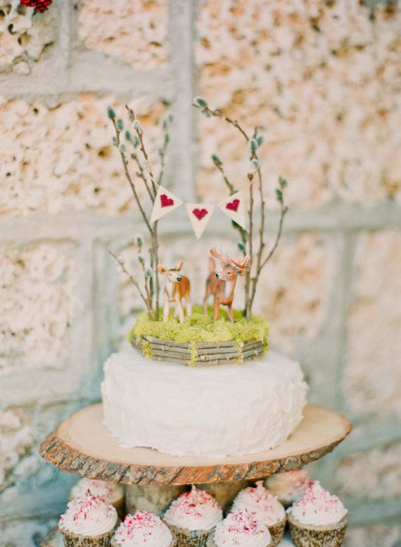 6 inch Deer Wedding Cake Topper by afoxwedding on Etsy, $68.00