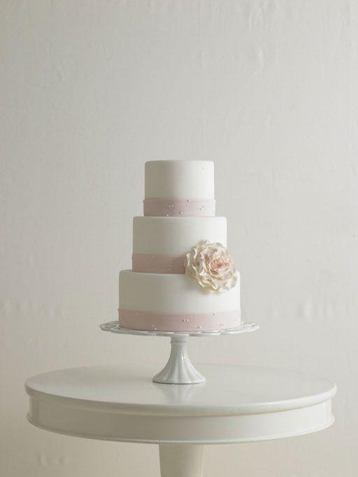 A blush banded wedding cake from Mark Joseph Cakes