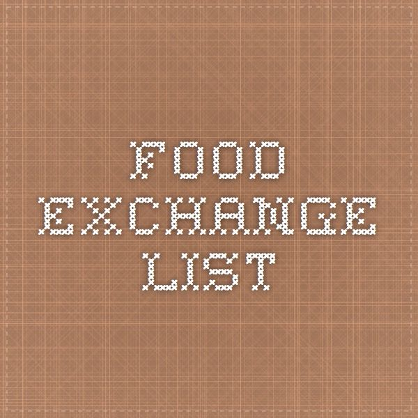 Food Exchange List Eating Disorder Help In 2018 Pinterest Food