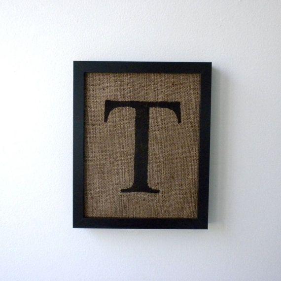 Letter T - burlap wall decor, alphabet art, monogram | Home decor ...