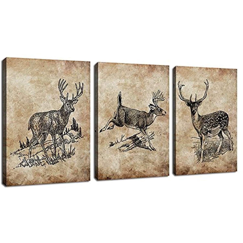 Canvas Art Deer Painting Wall Art Decor 3 Pieces Canvas Prints Vintage Elk Picture Artwork Framed Ready To Canvas Art Wall Decor Canvas Artwork Canvas Wall Art