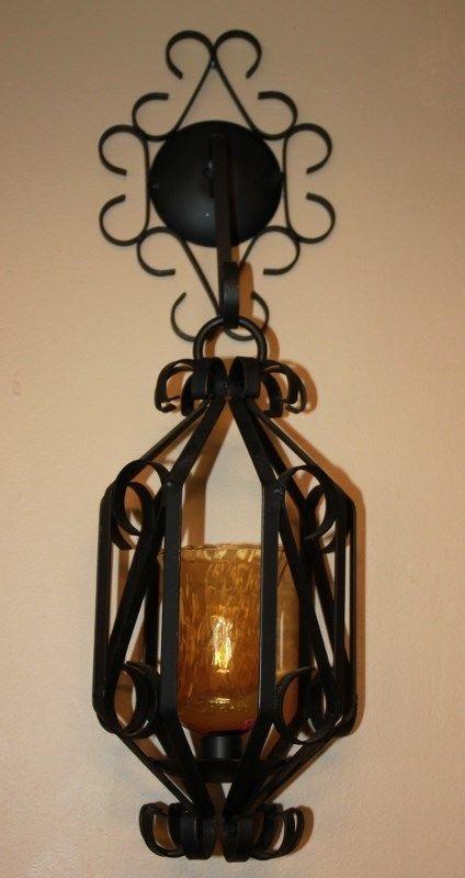 Vintage Black Wrought Iron Hanging Candle Holder Lantern Wall