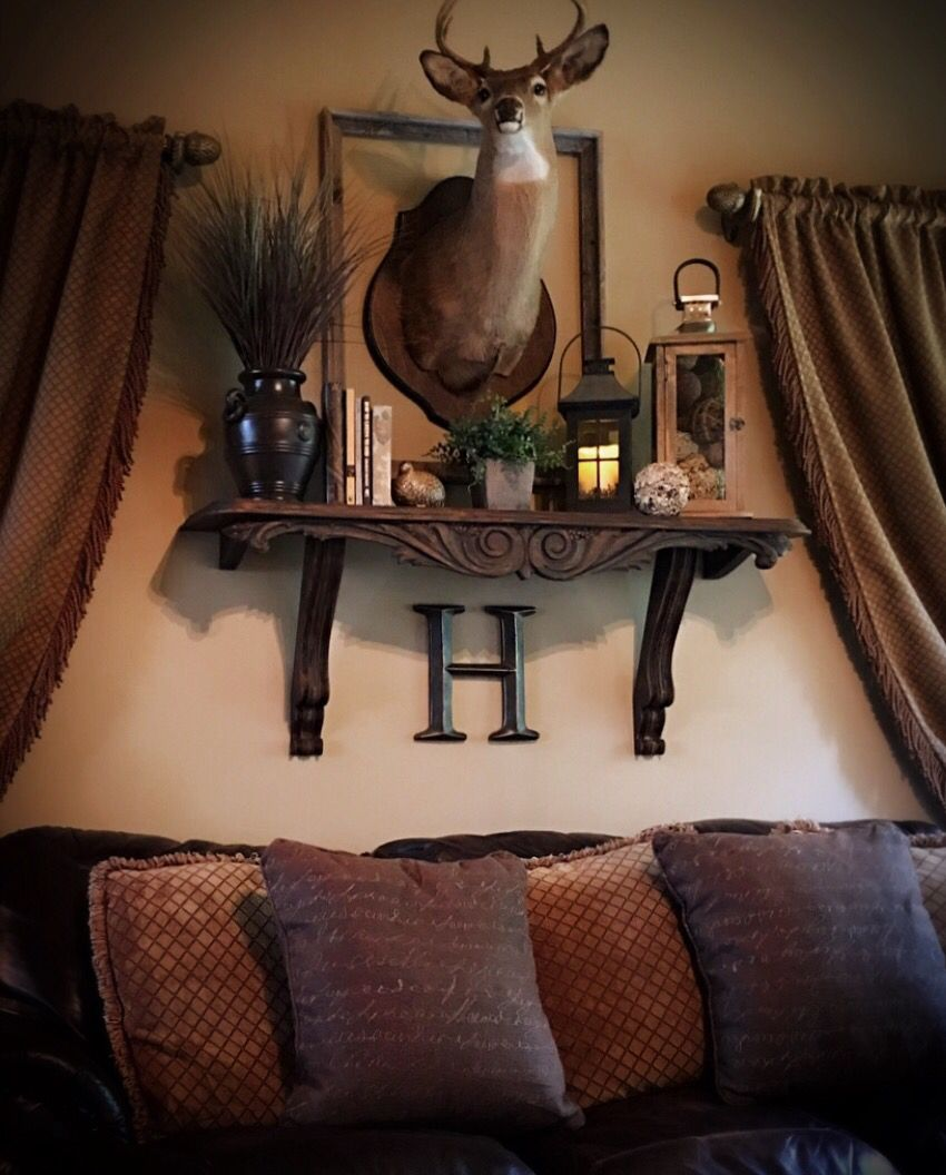 Rustic Elegance Lodge Decorating Shelf And Large Wall With Deer