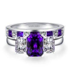 Radiant Cut Amethyst Ring Sterling Silver Three-stone Bridal Ring Set