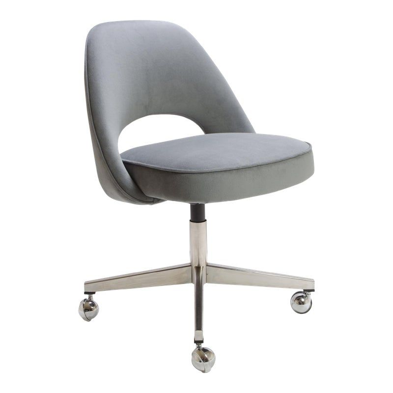 Saarinen Executive Armless Chair In Gray Moleskin Swivel Base