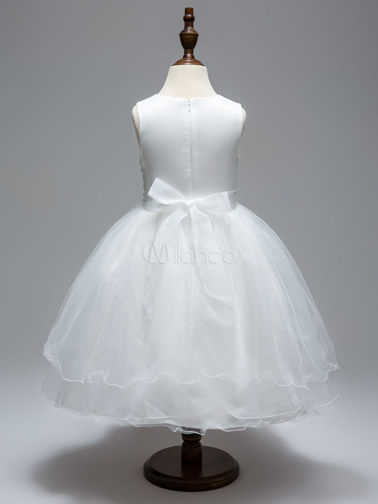 4afd802d03d White Flower Girl Dresses Round Neck Sleeveless Tutu Dress Lace Tulle Bows  Flowers Applique Toddler s Pageant Dresses  Neck