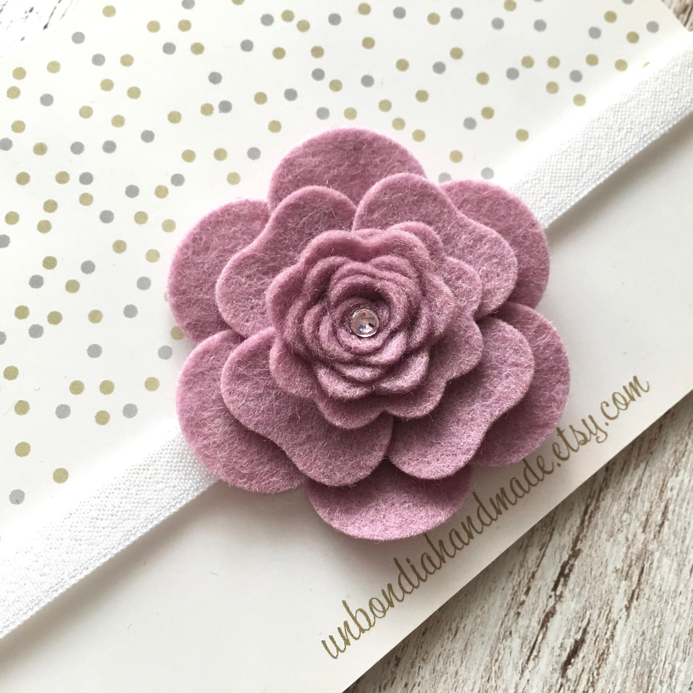 Felt Pink Flower Headband Old Rose Camellia Baby Girl Headband