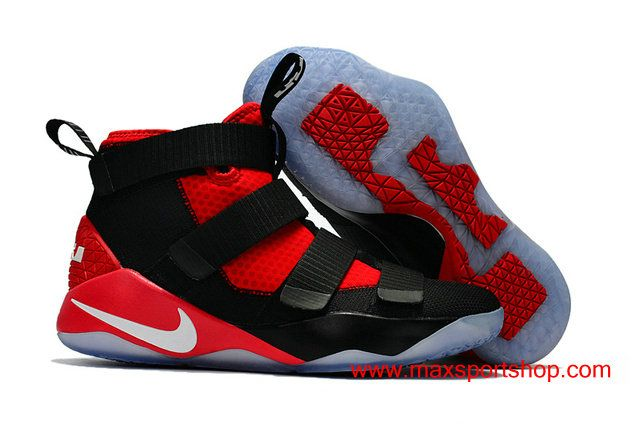 9c65847ebe5 2017 Nike LeBron Soldier 11 Black Red Basketball Shoes For Men  76.00